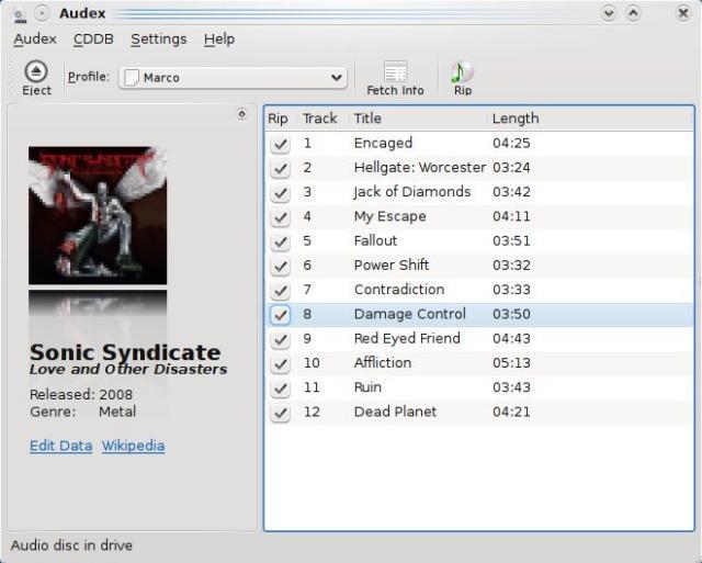 Audex: convertire CD in MP3 con KDE 4