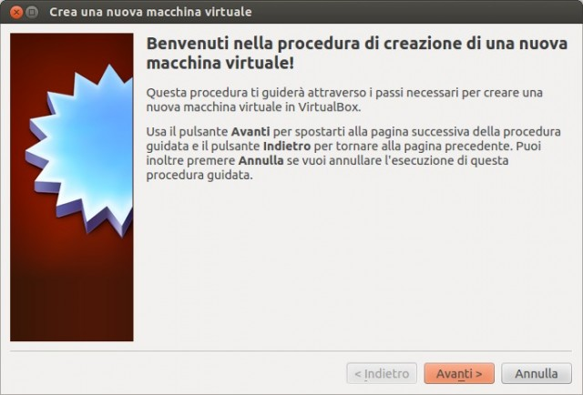 VirtualBox - Wizard nuova Macchina Virtuale