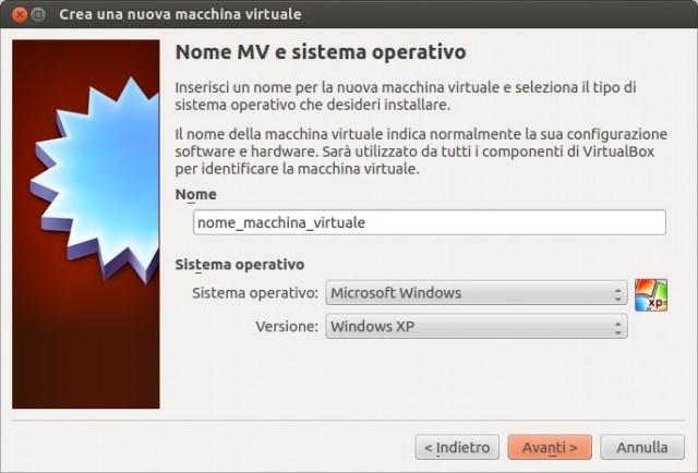 VirtualBox - Nome e tipo sistema operativo