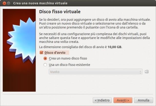 VirtualBox - Creazione disco